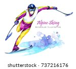 watercolor illustration. alpin... | Shutterstock . vector #737216176