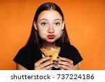 beautiful young girl wants to... | Shutterstock . vector #737224186