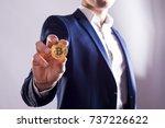 Golden Bitcoin In A Man Hand ...