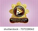 golden badge with pizza slice... | Shutterstock .eps vector #737228062