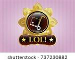 golden badge with cargo icon... | Shutterstock .eps vector #737230882