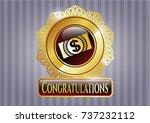 golden badge with money ... | Shutterstock .eps vector #737232112