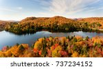 Stock photo ariel view of lac creux north quebec canada during the fall season 737234152