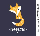 vector cute fox and inscription ... | Shutterstock .eps vector #737234692