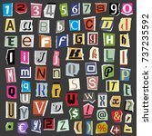 vector collage alphabet letters ... | Shutterstock .eps vector #737235592