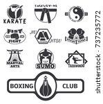 set of cool fighting club... | Shutterstock .eps vector #737235772