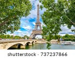the eiffel tower and the river... | Shutterstock . vector #737237866