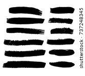 set of hand painted brush... | Shutterstock .eps vector #737248345