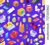 supermarket shopping isometric... | Shutterstock .eps vector #737265862