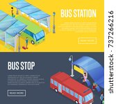 bus waiting station isometric... | Shutterstock .eps vector #737266216