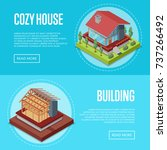 cozy house building posters set.... | Shutterstock .eps vector #737266492