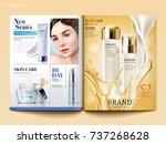 cosmetic magazine template ... | Shutterstock .eps vector #737268628