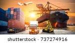 industrial container cargo... | Shutterstock . vector #737274916