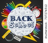 school supplies in a circle on... | Shutterstock .eps vector #737276512
