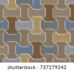 3d clay worm brick pavement... | Shutterstock .eps vector #737279242