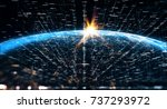 connection lines around earth... | Shutterstock . vector #737293972
