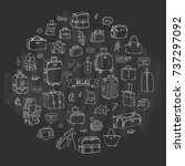hand drawn doodle baggage icons ... | Shutterstock .eps vector #737297092