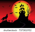 halloween night and full moon   Shutterstock .eps vector #737301952