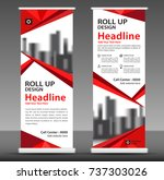 red roll up banner stand... | Shutterstock .eps vector #737303026