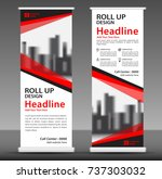 red roll up banner stand... | Shutterstock .eps vector #737303032