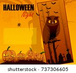scary haunted halloween... | Shutterstock .eps vector #737306605