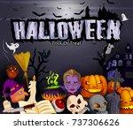 scary haunted halloween... | Shutterstock .eps vector #737306626