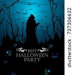 scary haunted halloween... | Shutterstock .eps vector #737306632