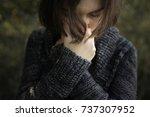 head and hands  beautiful... | Shutterstock . vector #737307952