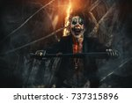 scary punk clown man smeared... | Shutterstock . vector #737315896