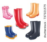 colored rubber boots vector... | Shutterstock .eps vector #737321575