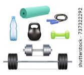 vector gym icon set. realistic... | Shutterstock .eps vector #737322292