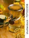 homemade fruit vinegar on... | Shutterstock . vector #737322358