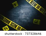 crime scene with dramatic... | Shutterstock . vector #737328646