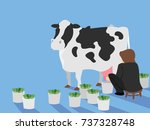 illustration of a man milking a ... | Shutterstock .eps vector #737328748