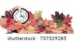 isolated electronic wall clock. ... | Shutterstock . vector #737329285