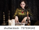 young woman with divination... | Shutterstock . vector #737334142