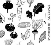 hand drawn doodle vegetables.... | Shutterstock .eps vector #737336428