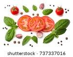 mix of slice of tomato  basil...   Shutterstock . vector #737337016