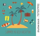 summer holiday flat icons with... | Shutterstock .eps vector #737337952