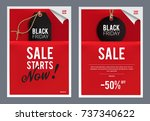 black friday poster  flyer set. ... | Shutterstock .eps vector #737340622
