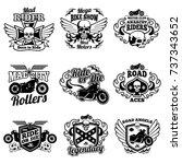 vintage motorcycle labels.... | Shutterstock .eps vector #737343652