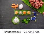 ancient thai dessert  thai... | Shutterstock . vector #737346736