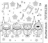 group of children singing...   Shutterstock . vector #737351236