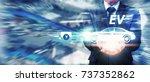 ev car  electric car in hand...   Shutterstock . vector #737352862