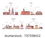 detailed architecture of dublin ... | Shutterstock .eps vector #737358412