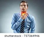 throat pain. office worker... | Shutterstock . vector #737364946