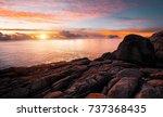 Coast Sea. Sunset. Wild Rock...