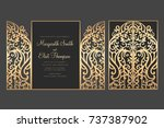 laser cut gate door fold card.... | Shutterstock .eps vector #737387902