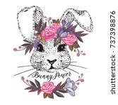 beautiful bunny with floral... | Shutterstock .eps vector #737398876