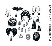 monochrome animals  black and... | Shutterstock .eps vector #737410105